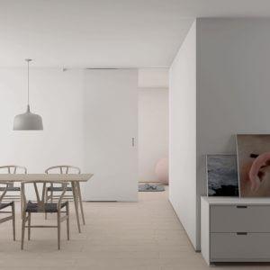 бяла интериорна врата на кухня